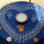 cuori bicchieri tavola blu